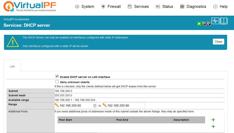 DHCP server - VirtualPF
